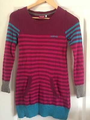Gorgeous Animal Girls Striped Long Top / Jumper Age 9-10 Years Pink, Purple Blue