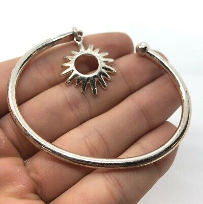 Vintage Sterling Silver Bracelet 925 Cuff Circle Of Friends Sun Flower Charm