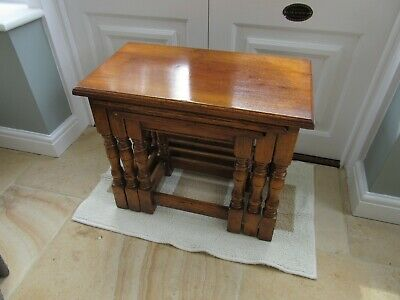 Vintage Set of Three Solid Oak Nested Tables - Small Coffee size