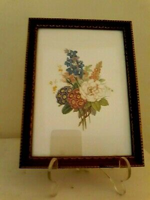 "Vintage Mid Century Botanical Print Flowers Framed Art Picture Wood 5"" x 7"""