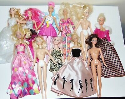 Mixed lot of 11 loose Barbie dolls Preowned Courtney Dreamtopia nudes Curvy