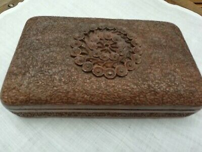 Antique Anglo-Indian Domed Carved Wooden Kashmiri Box Circa 1900