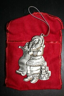 Collectible Pewter Avon Santa 1996 Commemorative Christmas Tree Ornament, NIB