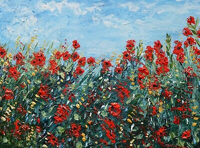 Red Poppy Flowers, ACEO print of Painting, 2.5x3.5 mini artwork field of poppies