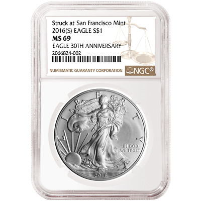 2016 (S) $1 American Silver Eagle NGC MS69 Brown Label