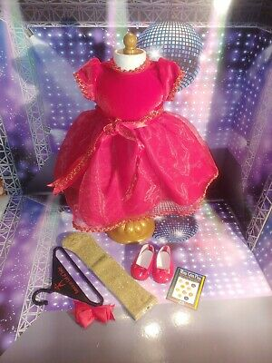 NEW American Girl Pleasant Company Doll Clothes RED BERRY DRESS Shoes Tights HTF