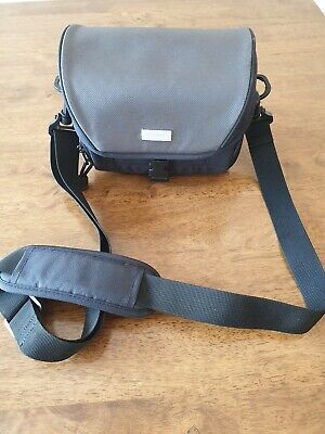 Small CANON Fold Over Camera Bag Case With Adjustable Strap Grey & Black