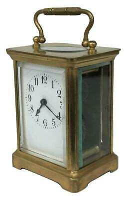 Antique 19thC French Brass Glass Carriage Officers Clock +Key HENRI JACOT (Attr)