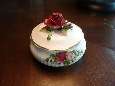 """Royal Albert """"Old Country Roses"""" Trinket Box w/Applied Rose Excellent Cond 1962"""