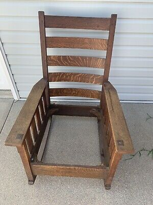 100% Original Gustav Stickley Large Quarter Sawn Oak Mission Rocking Chair