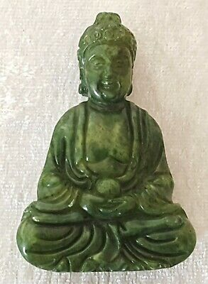 Chinese carved green jade vintage Victorian antique Buddha figurine pendant