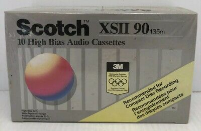 (10) Scotch XSII 90 Minute Bias Position II Audio Cassettes New Old Stock Sealed