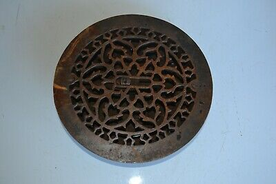 Vintage Antique  Cast Iron Floor Grille ROUND Heat Grate Register Louvers Lot 1