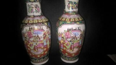 "Vintage Chinese Pair of Famille Rose 10"" Vases Hand Painted Decorations"