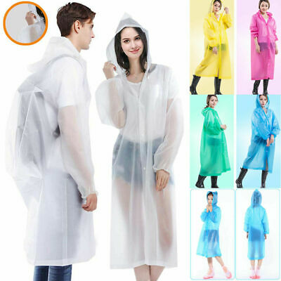 ADULT EMERGENCY PONCHO Waterproof Rain Coat Cape reusable  Festival Camping