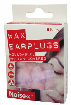 Noise-X Wax Ear Plugs (Mouldable, Cotton Covered) - Pack of 6 pairs - Free P&P