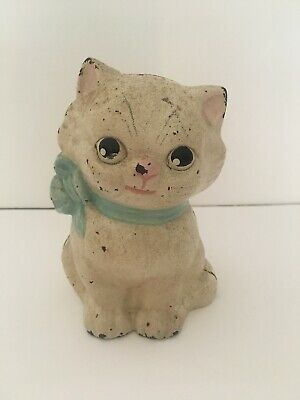 Antique Hubley Cast Iron Kitten Bank With Blue Ribbon - Free Shipping!!