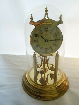 Vintage Kundo 400 Day Anniversary Clock Brass w/ Glass Dome & Porcelain Dial