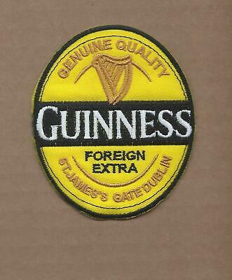 New 3 X 3 1/2 Inch Guinness Beer Iron On Patch Free Shipping P1