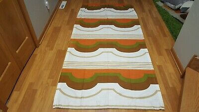 Awesome RARE Vintage Mid Century retro 70s org grn abstract hills curtain fabric