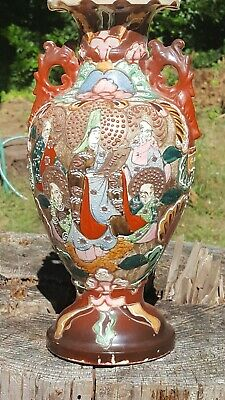 Japanese immortals Moriage VASE Vintage  Handles Urn Pottery Hand Painted