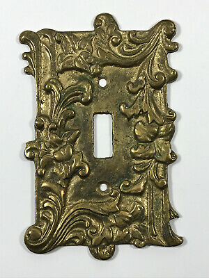 1950's 1960's Mid-Century Brass Japan Switch plate flowers leaves LOVELY!