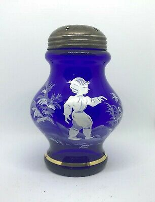 Excellent Mary Gregory Cobalt Blue Sugar Shaker / Muffineer Boy In Nature