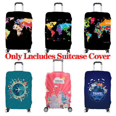 Travel Elastic Luggage Cover Suitcase World Map Trolley Dustproof Case Protector
