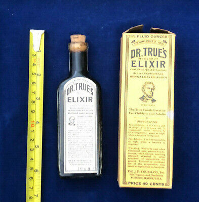 Antique Dr. True's Elixir bottle in Original Box