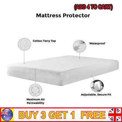 All Size Fully Fitted Poly Cotton Waterproof Mattress Protector Bed Soft Cover