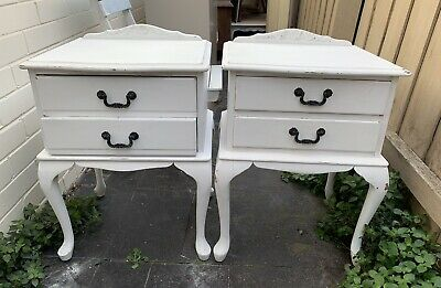 Pair Of Vintage Queen Anne Bedside Tables, French Farmhouse, Solid Wood, Shabby