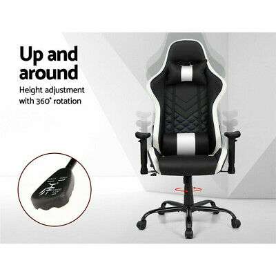 Artiss Gaming Office Computer Executive Desk Chair Racing Recliner Black & White