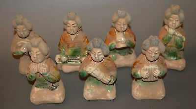 China Ancient Clay Burn Pottery Tomb Burial Musician Play Statue Tri Color Glaze