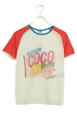 CHANEL COCO CC CUBA T-Shirts Size XS Cotton White Pink Used Ex++