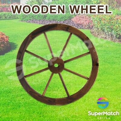 Large Wooden Wheel Rustic Garden Decor Feature Outdoor Decoration Wagon New
