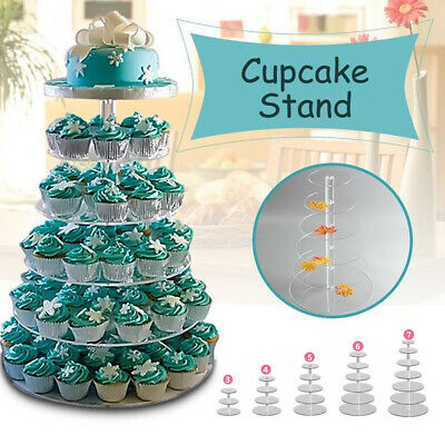 3/4/5/6/7/Tier Acrylic Clear Round Cupcake Cake Stand Birthday Wedding Party za