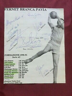 10 Autografi originali FERNET BRANCA PAVIA 90/91-BASKET-collezione-IN PERSON!!!!