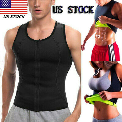 Men Weight Loss Waist Trainer Vest Sauna Sweat Body Shaper Tank Slimmer Trimmer#