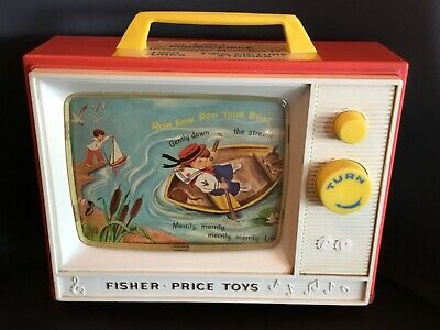 1966 Fisher-Price Two Tune TV Music Box~ London Bridge & Row, Row your boat  114