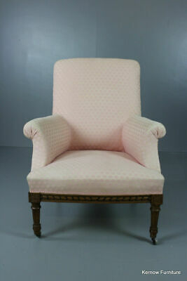 Antique Vintage Pink French Upholstered Armchair Chair
