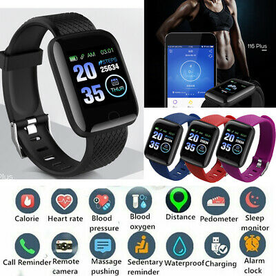 116Plus Activity Tracker Smart Watch Bluetooth Heart Rate Blood Pressure Fitness