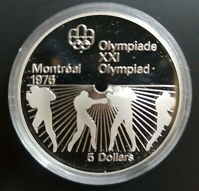 1976 Canada $5 Silver Coin Summer Olympic Games (Boxing) PROOF....