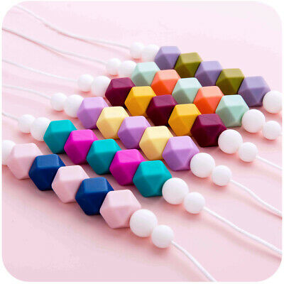 Hexagon Silicone Beads Teether Baby Sensory Teething Necklace BPA Free Jewelry