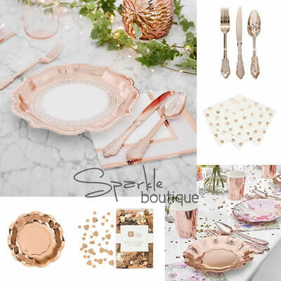 ROSE GOLD PORCELAIN STYLE PARTY RANGE-Plates/Napkins/Disposable Cutlery/Confetti
