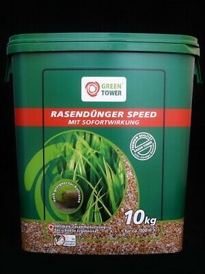 Green Tower Rasendünger Speed 10 kg-Eimer 300 m² NPK Dünger Sofortwirkung