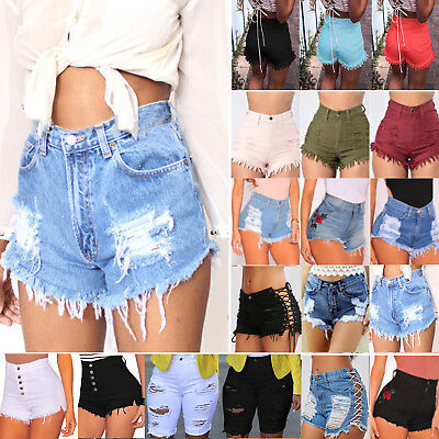 Vintage Womens High Waist Ripped Denim Jeans Shorts Stretch Skinny Hot Pants UK