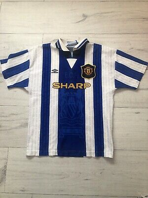 Vintage 1994-96 Manchester United Away Third Shirt Umbro Large Boys Blue White