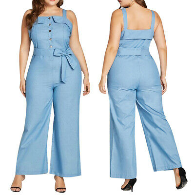 UK Women Trendy Denim Dungarees Ladies Casual Jumpsuit Trousers Jeans Overalls