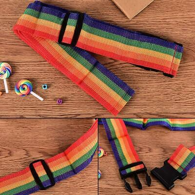 Travel Luggage Suitcase Strap Baggage Backpack Bag Rainbow Color Belt Adjustable