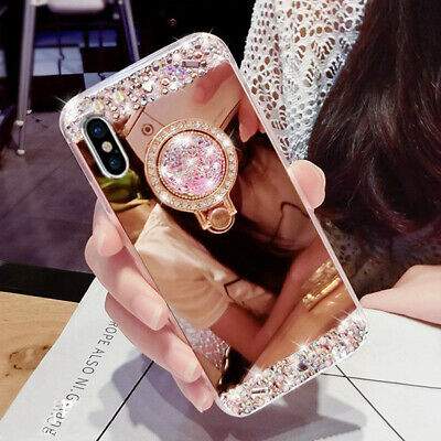 Bling Diamond Crystal Ring Holder Mirror Case Cover for Huawei P20Plus/P30Pro